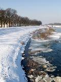 poland flodvinter Royaltyfri Fotografi