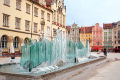 Poland, fountain on the Market square in Wroclaw Royalty Free Stock Photography