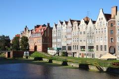 Poland - Gdansk. City (also know nas Danzig) in Pomerania region. Row of tenements by Motlawa river Royalty Free Stock Photo