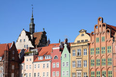 Poland - Gdansk. City (also know nas Danzig) in Pomerania region. Famous apartment buildings next to Motlawa river Royalty Free Stock Photography