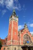Poland - Gdansk. City (also know nas Danzig) in Pomerania region. Railway station clock tower Royalty Free Stock Photography