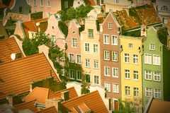 Poland - Gdansk. City (also know nas Danzig) in Pomerania region. Old town aerial view. Cross processed color style - retro tone Stock Image