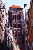 Poland . Gdansk. The ancient architecture of Gdansk against the blue sky Stock Image