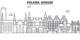 Poland, Gdansk architecture line skyline illustration. Linear vector cityscape with famous landmarks, city sights Royalty Free Stock Image