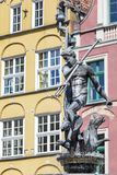 Poland - Gdansk city (also know nas Danzig) in Pomerania region. Famous Neptune fountain at Dlugi Targ square. Stock Image