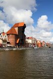 Poland - Gdansk. City (also know nas Danzig) in Pomerania region. Old town view with Motlawa river and famous Crane Stock Images
