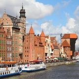 Poland - Gdansk. City (also know nas Danzig) in Pomerania region. Old town view with Motlawa river and famous Crane. Square composition Royalty Free Stock Photos