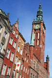Poland. Gdansk city. Town hall. With clock Royalty Free Stock Images