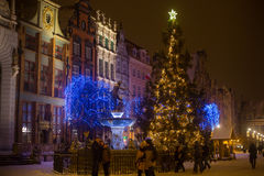 POLAND, GDANSK - DECEMBER 30, 2014: Christmas tree in the festive decorations on Long Market Dlugi Targ street. Gdansk is a Polish city on the Baltic coast and Royalty Free Stock Image