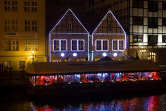 POLAND, GDANSK - DECEMBER 12, 2014: Historic buildings on the coast of the Motlawa river in the old part of the city. Stock Photography