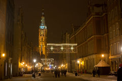 POLAND, GDANSK - DECEMBER 30, 2014: Nigh town on Long Market Dlugi Targ street before Christmas. Gdansk is a Polish city on the Baltic coast and popular center Royalty Free Stock Image