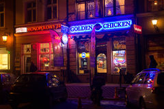 POLAND, GDANSK - DECEMBER 12, 2014: Night shops in the historic part of town. Royalty Free Stock Photos