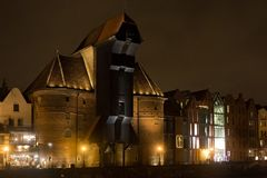 POLAND, GDANSK - DECEMBER 12, 2014: A view of the famous medieval Crane. Is a historical city gate with the function of the lifting mechanism. Built in 1442 Royalty Free Stock Images