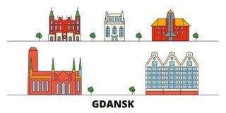 Poland, Gdansk flat landmarks vector illustration. Poland, Gdansk line city with famous travel sights, skyline, design. Poland, Gdansk flat landmarks vector vector illustration