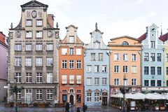 Poland, Gdansk - 12/09/2018: the main street in the European city, colorful houses royalty free stock photography