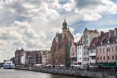 Poland Gdansk. Old buildings river ship Stock Photos