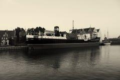 Poland Gdansk ship. Poland - Gdansk black and white ship Royalty Free Stock Images