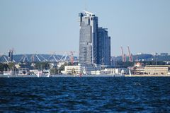 Poland, Gdynia marine town view from yacht Royalty Free Stock Photos
