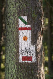 Poland, Gorce Mountains, trail blazing marks Stock Image