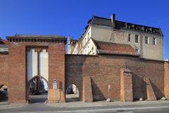 Defence walls of Old Town and Philadelphia Boulevard in Torun, Poland. Poland, Greater Poland province, Torun - 2012/07/08: Defence walls of old town and Royalty Free Stock Image