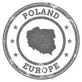 Poland grunge rubber stamp map and text. Royalty Free Stock Image