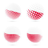 Poland halftone flag set patriotic vector design. Royalty Free Stock Photos