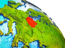 Map of Poland on 3D Earth. Poland Highlighted on 3D Earth model with water and visible country borders. 3D illustration stock illustration