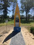 Poland, Ilawa. Roadside shrine made with kayak royalty free stock images
