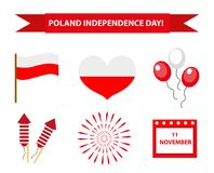 Poland Independence Day icon set, flat style.   Stock Images
