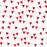 Poland Independence day seamless pattern. Red, white flags, bunting repeating texture, endless background. Isolated on. White background. Vector illustration vector illustration