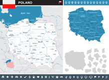 Poland - infographic map and flag illustration Stock Images