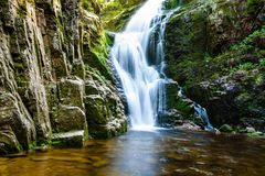 Poland. The Karkonosze National Park (biosphere reserve) - Kamienczyk waterfall Royalty Free Stock Photo
