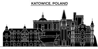 Poland, Katowice architecture vector city skyline, travel cityscape with landmarks, buildings, isolated sights on vector illustration