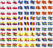 Poland, Kosovo, Republic of Macedonia, Colombia, Chad, Sweden, Ghana, Chuvashia, South Africa. Big set of 81 flags. Royalty Free Stock Photo