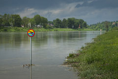 Poland, Kraków, Flood, No Swimming Sign over the Water Stock Photos