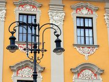 Poland Krakow City Old Centre. A charming building with beautiful lantern in the old centre of Krakow Royalty Free Stock Photos