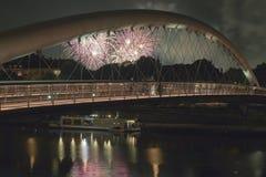 Poland, Krakow, Kazimierz, Bernatka Footbridge, Fireworks Stock Photography