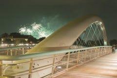 Poland, Krakow, Kazimierz, Bernatka Footbridge, Fireworks Royalty Free Stock Photos