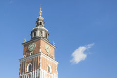 Poland, Krakow, Main Market, Town Hall Tower, Sunlit Royalty Free Stock Photo