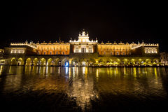 Poland, Krakow. Market Square at night.The Main Market Square in Stock Photo