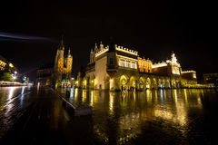 Poland, Krakow. Market Square at night.The Main Market Square in Royalty Free Stock Images