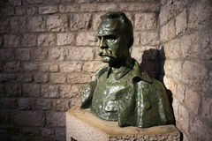 POLAND, KRAKOW - MAY 27, 2016: Bust of Jozef Pilsudski near his grave in Wawel castle. Stock Image