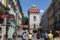 POLAND, KRAKOW - MAY 27, 2016: Medieval tower of the Florian Gate in Krakow, Poland. Royalty Free Stock Photography