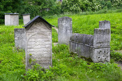 POLAND, KRAKOW - MAY 27, 2016: Old Jewish cemetery beside the Remuh Synagogue. Stock Images