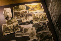 POLAND, KRAKOW - MAY 27, 2016: Old photos on the theme of life Krakow Jews during the Second World War. Stock Image