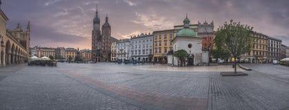 Poland, Krakow - MAY 6: Panorama Market Square at sunrise on May 6, 2015 in Krakow, Poland Royalty Free Stock Photography