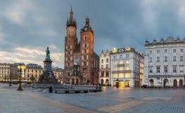 Poland, Krakow - MAY 6: St. Mary's Church. Morning Market Square on May 6, 2015 in Krakow, Poland Stock Photos