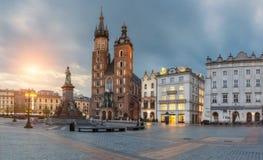 Poland, Krakow - MAY 6: St. Mary's Church. Morning Market Square on May 6, 2015 in Krakow, Poland Royalty Free Stock Photos