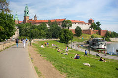 POLAND, KRAKOW - MAY 27, 2016: View of the Wawel Hill with the famous medieval castle. Stock Photography