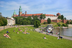 POLAND, KRAKOW - MAY 27, 2016: View of the Wawel Hill with the famous medieval castle. Royalty Free Stock Images